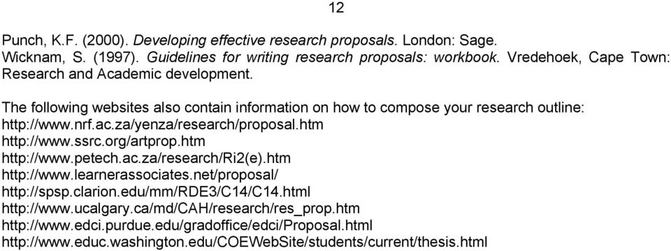 za/yenza/research/proposal.htm http://www.ssrc.org/artprop.htm http://www.petech.ac.za/research/ri2(e).htm http://www.learnerassociates.net/proposal/ http://spsp.clarion.