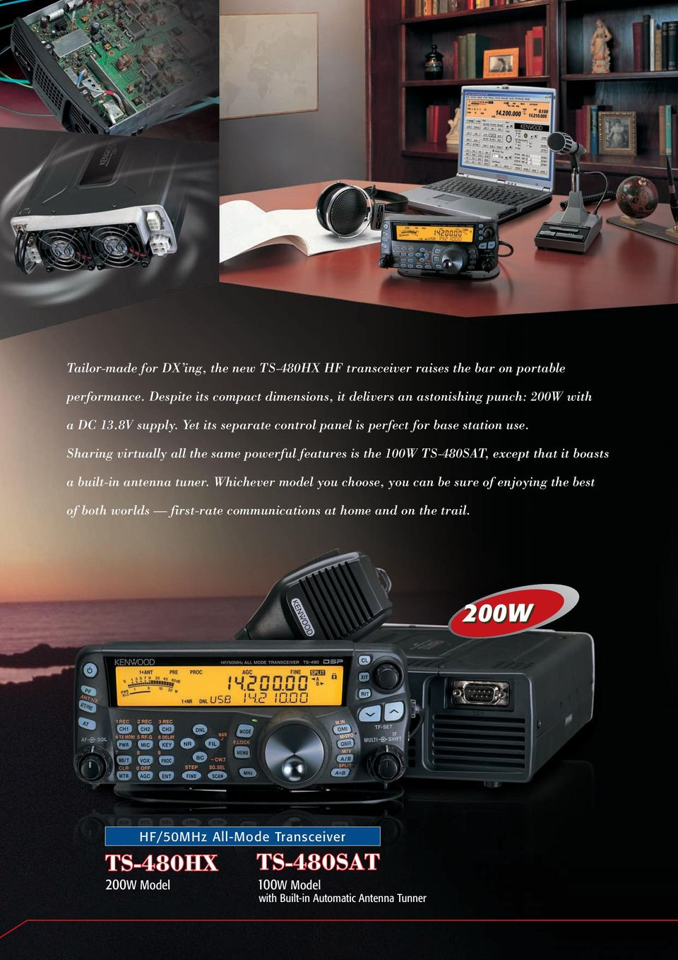Sharing virtually all the same powerful features is the 100W TS-480SAT, except that it boasts a built-in antenna tuner.