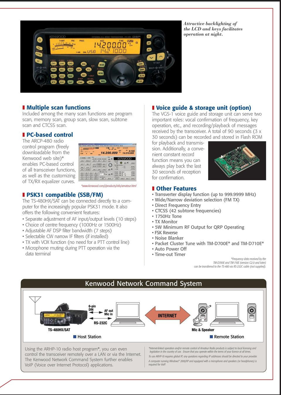 PC-based control The ARCP-480 radio control program (freely downloadable from the Kenwood web site)* enables PC-based control of all transceiver functions, as well as the customizing of TX/RX