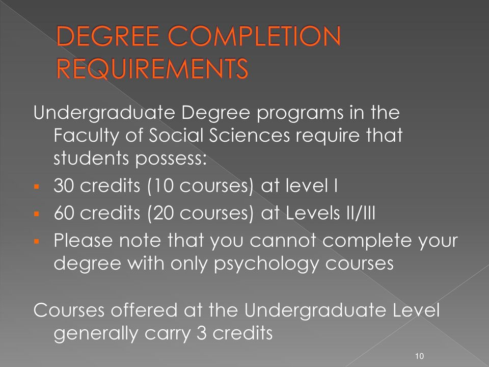 Levels II/III Please note that you cannot complete your degree with only