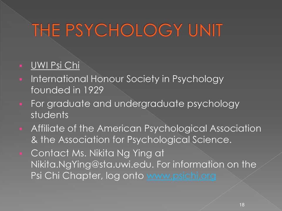 Association & the Association for Psychological Science. Contact Ms.
