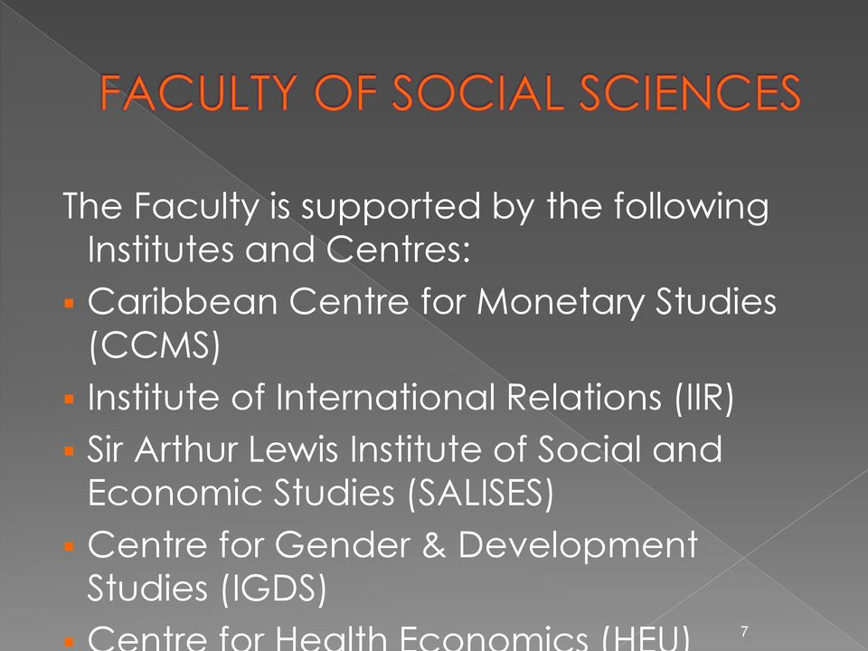 International Relations (IIR) Sir Arthur Lewis Institute of Social