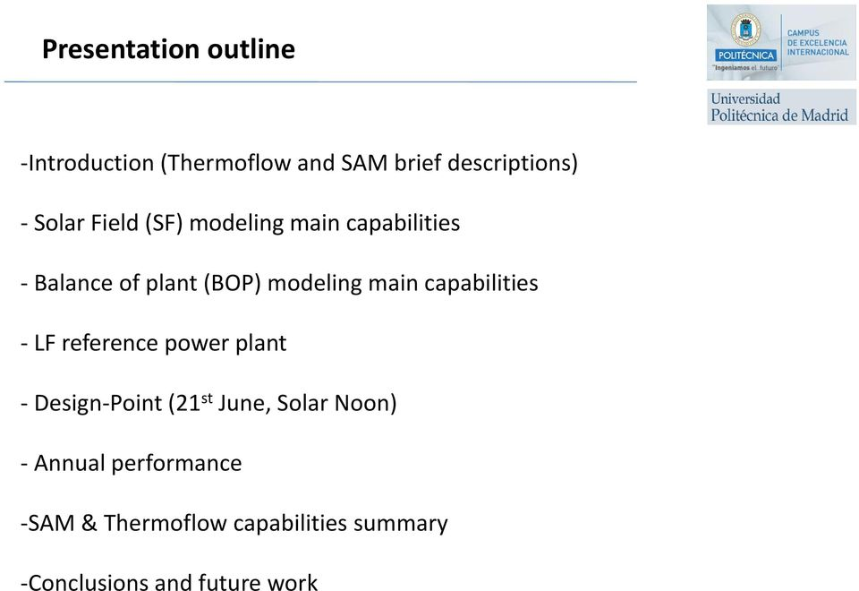 main capabilities - LF reference power plant - Design-Point (21 st June, Solar