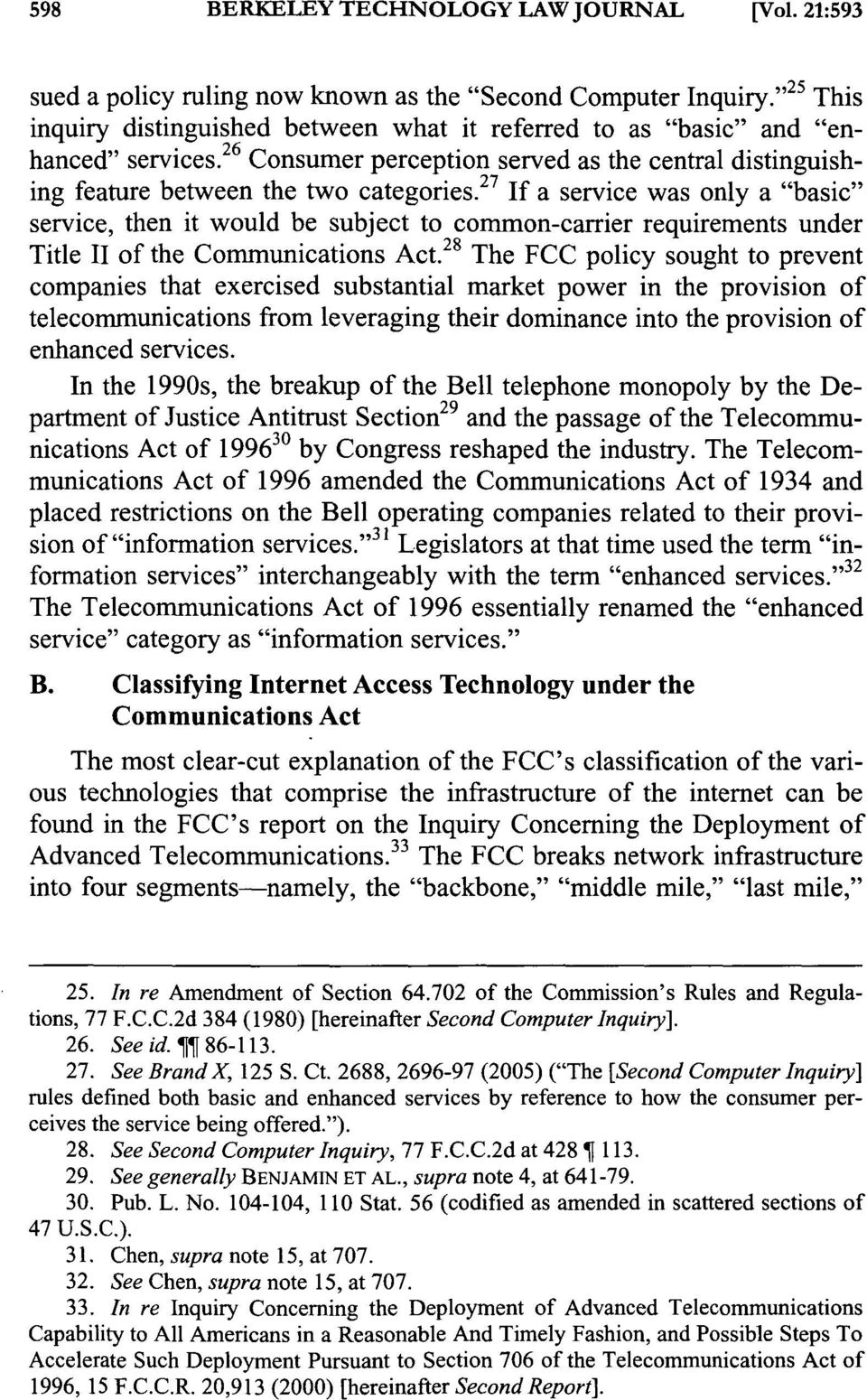 "27 If a service was only a ""basic"" service, then it would be subject to common-carrier requirements under Title II of the Communications Act."
