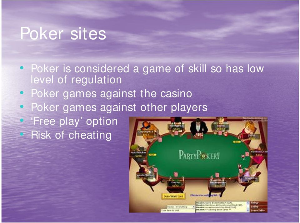games against the casino Poker games against