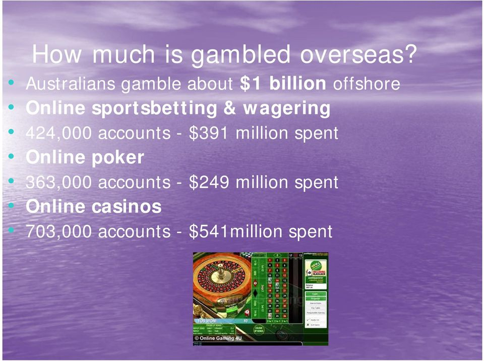 sportsbetting & wagering 424,000 accounts - $391 million