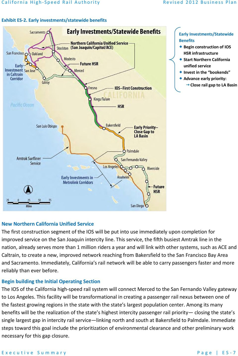 priority: Close rail gap to LA Basin New Northern California Unified Service The first construction segment of the IOS will be put into use immediately upon completion for improved service on the San
