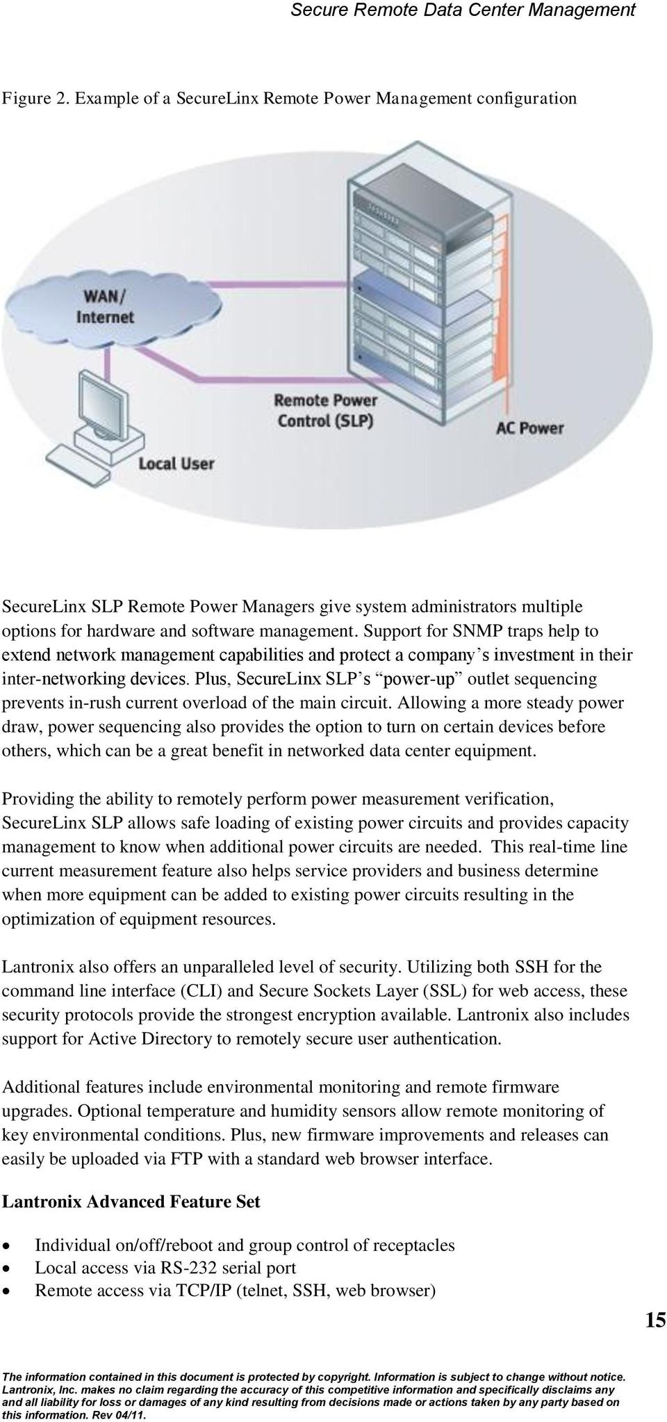 Plus, SecureLinx SLP s power-up outlet sequencing prevents in-rush current overload of the main circuit.