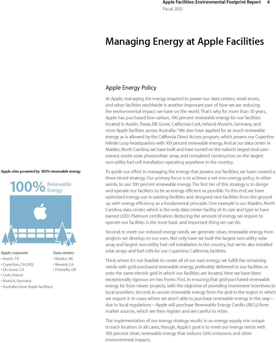 That s why for more than 10 years, Apple has purchased low-carbon, 100 percent renewable energy for our facilities located in Austin, Texas; Elk Grove, California; Cork, Ireland; Munich, Germany; and
