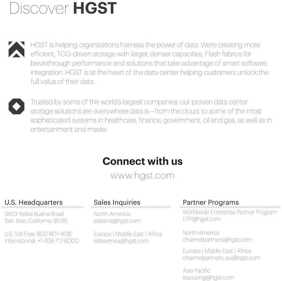 HGST is at the heart of the data center helping customers unlock the full value of their data.