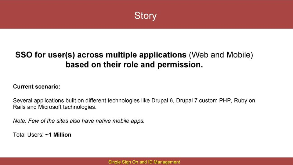 Current scenario: Several applications built on different technologies like Drupal 6,