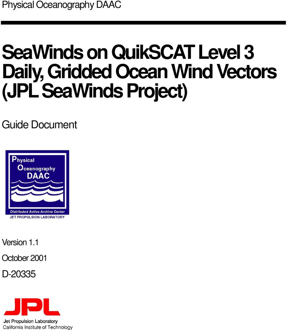 Wind Vectors (JPL SeaWinds Project)
