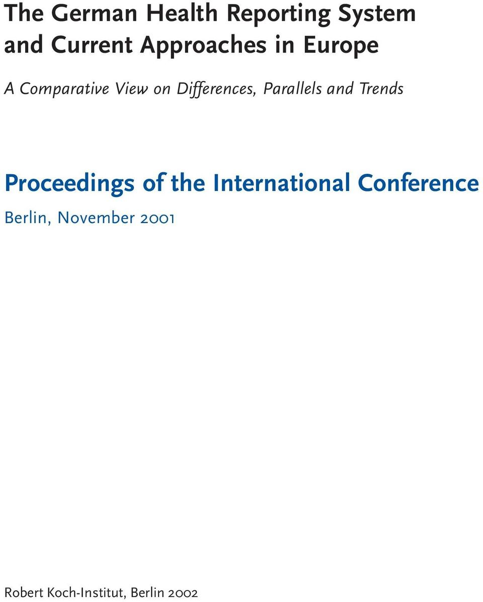 Parallels and Trends Proceedings of the International