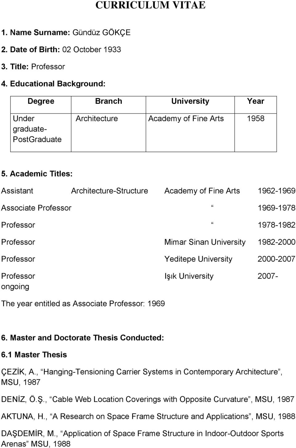 Academic Titles: Assistant Architecture-Structure Academy of Fine Arts 1962-1969 Associate Professor 1969-1978 Professor 1978-1982 Professor Mimar Sinan University 1982-2000 Professor Yeditepe