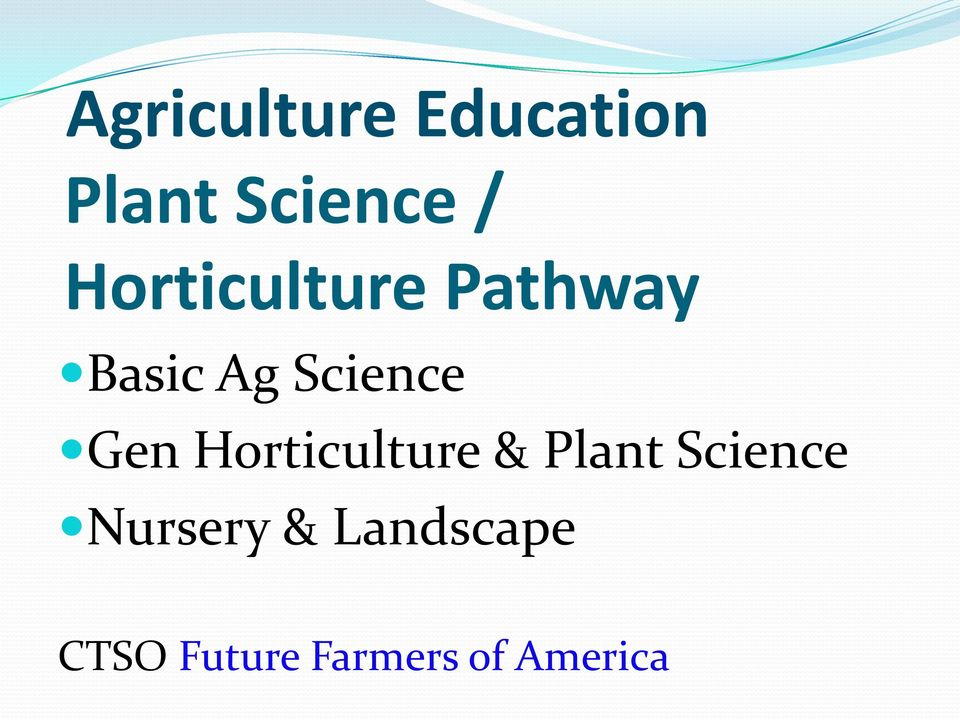 Gen Horticulture & Plant Science