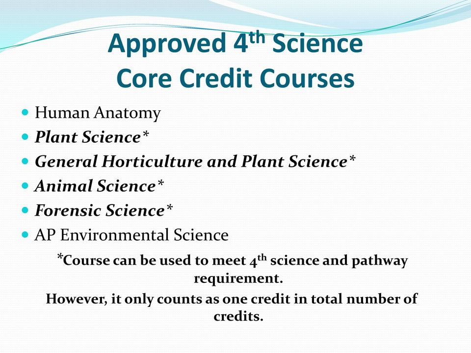 AP Environmental Science *Course can be used to meet 4 th science and