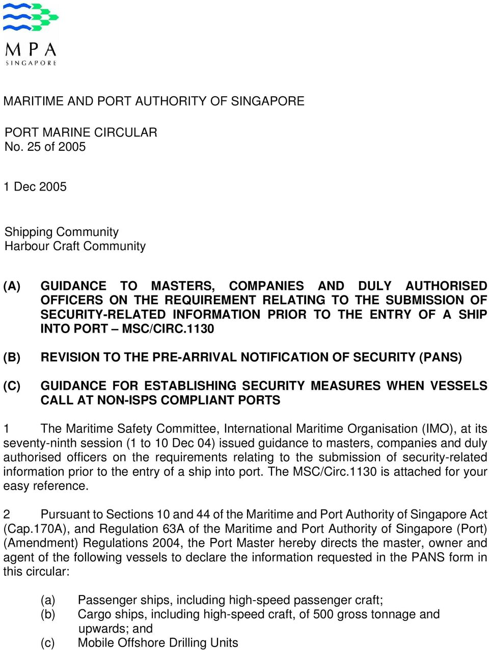 INFORMATION PRIOR TO THE ENTRY OF A SHIP INTO PORT MSC/CIRC.
