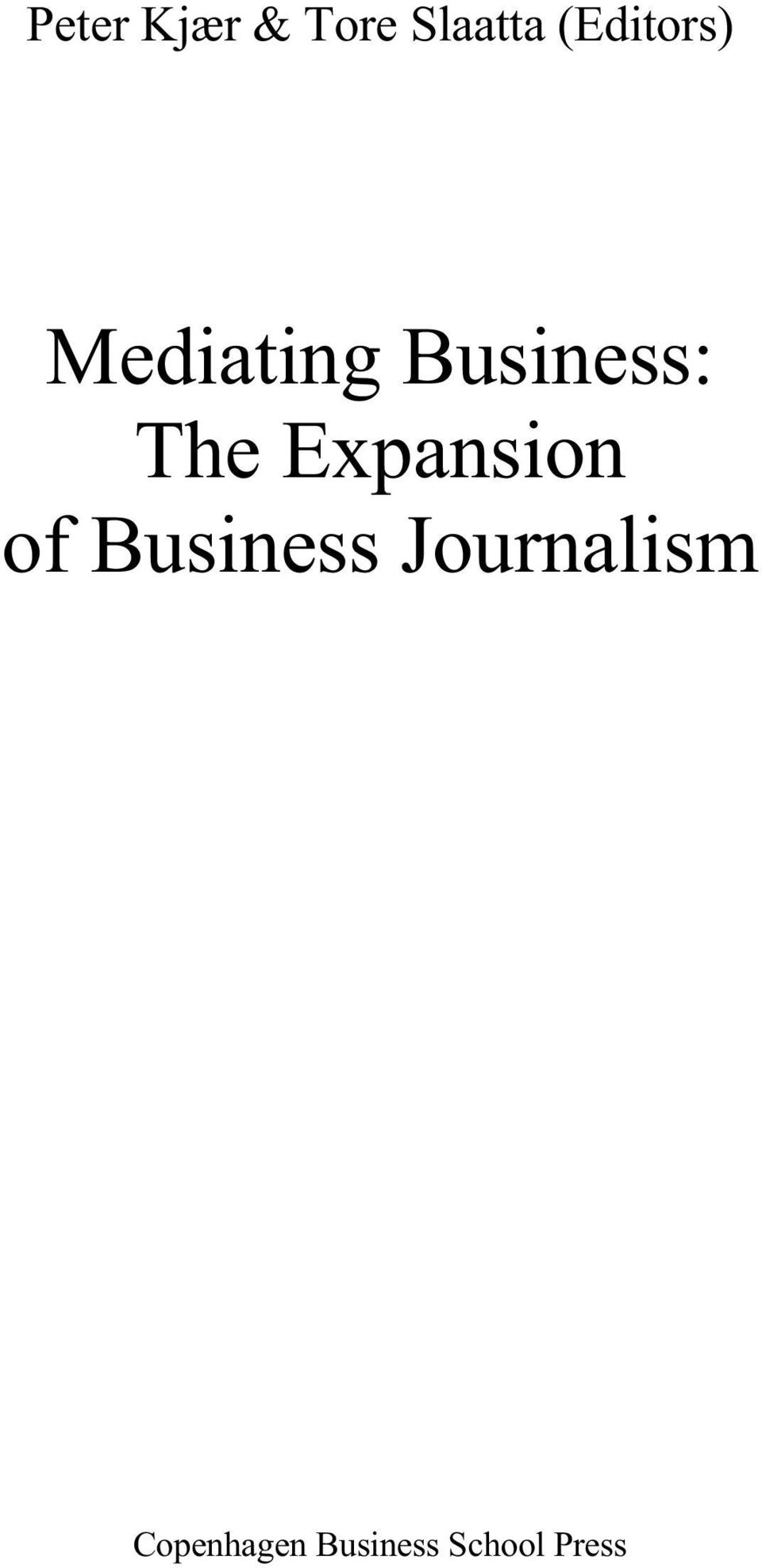 The Expansion of Business