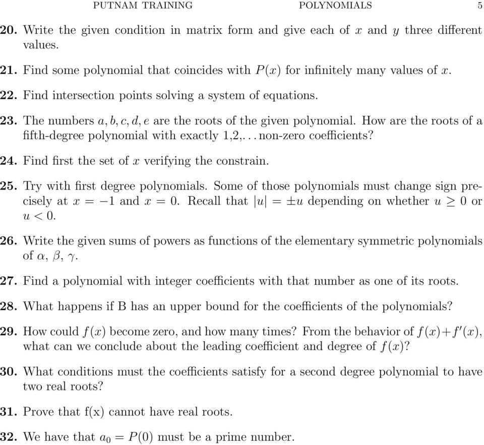 The numbers a, b, c, d, e are the roots of the given polynomial. How are the roots of a fifth-degree polynomial with exactly 1,2,... non-zero coefficients? 24.