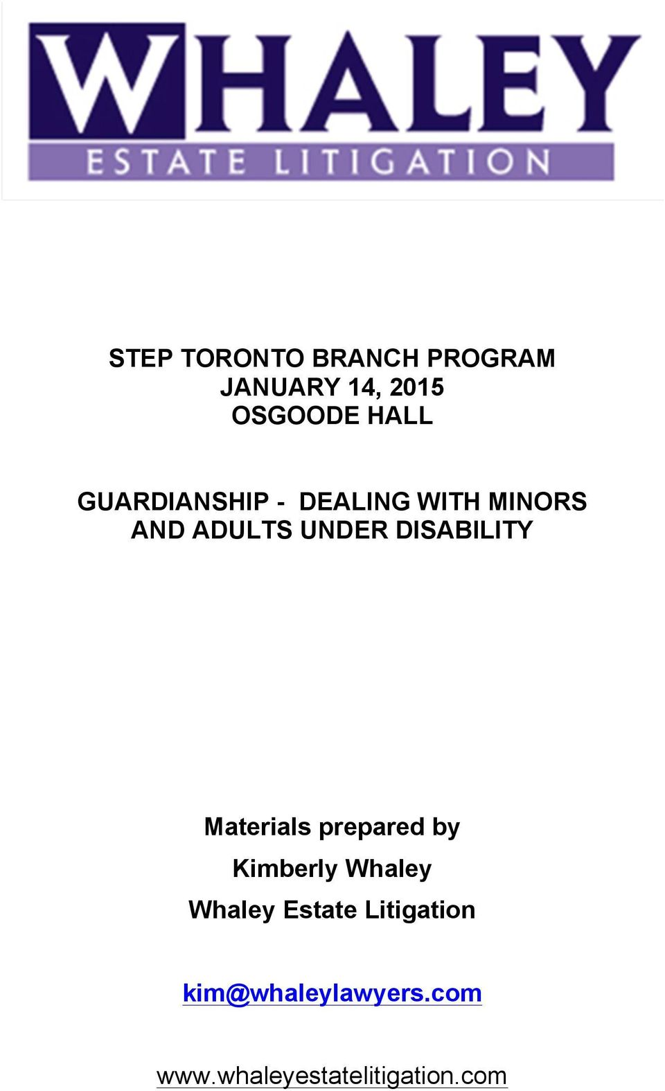 DISABILITY Materials prepared by Kimberly Whaley Whaley