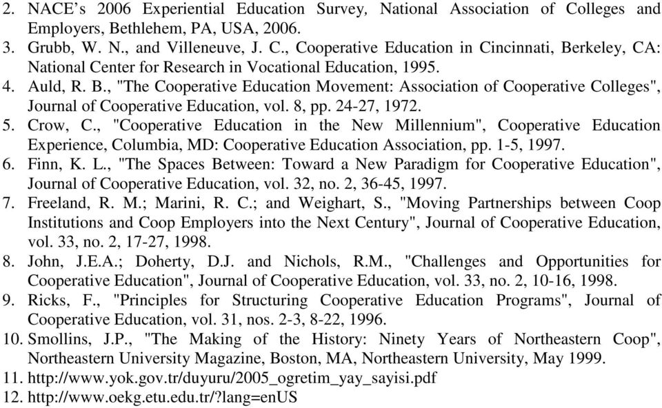 ", ""Cooperative Education in the New Millennium"", Cooperative Education Experience, Columbia, MD: Cooperative Education Association, pp. 1-5, 1997. 6. Finn, K. L."