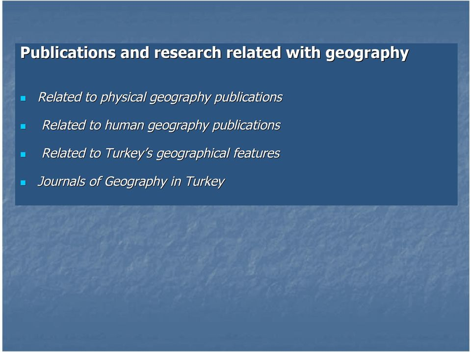 to human geography publications Related to Turkey s