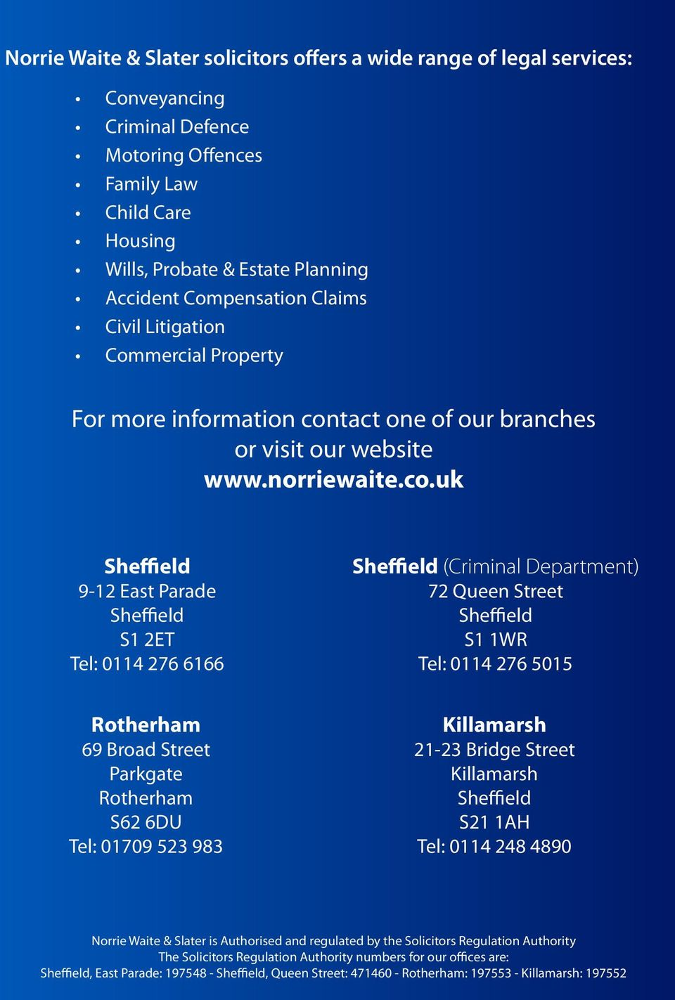 tact one of our branches or visit our website www.norriewaite.co.