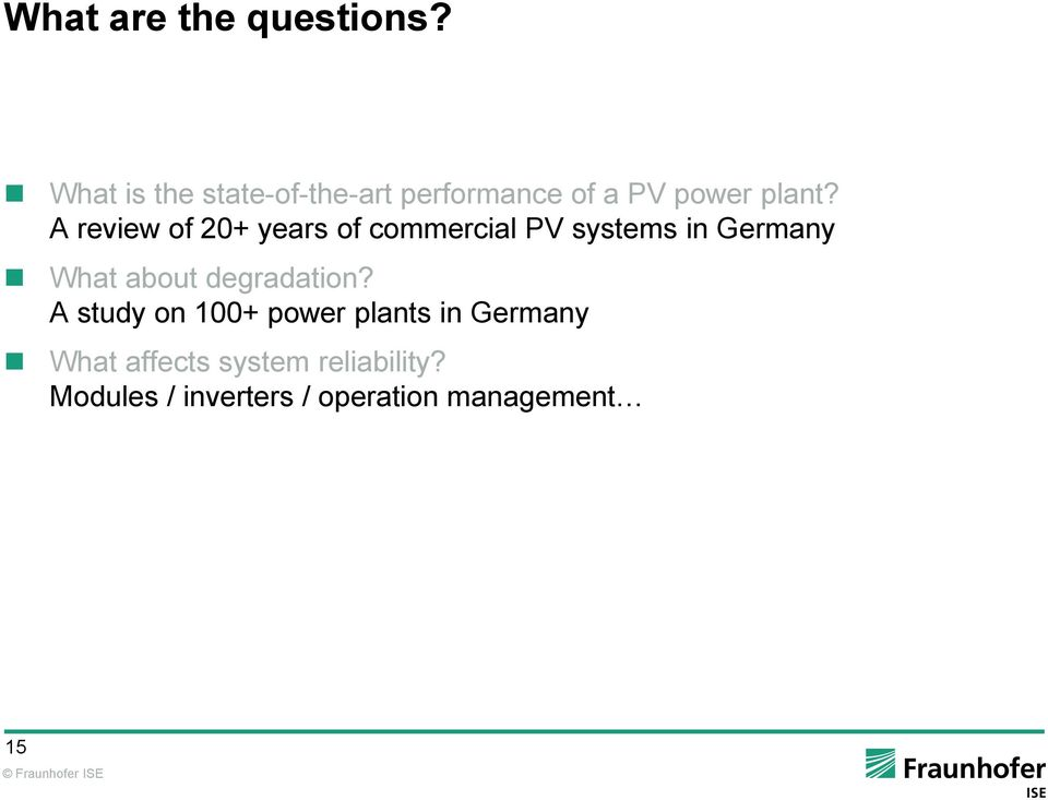 A review of 20+ years of commercial PV systems in Germany What about