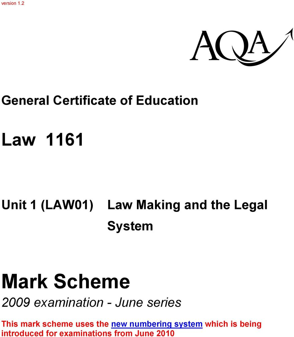 Law Making and the Legal System Mark Scheme 29 examination -