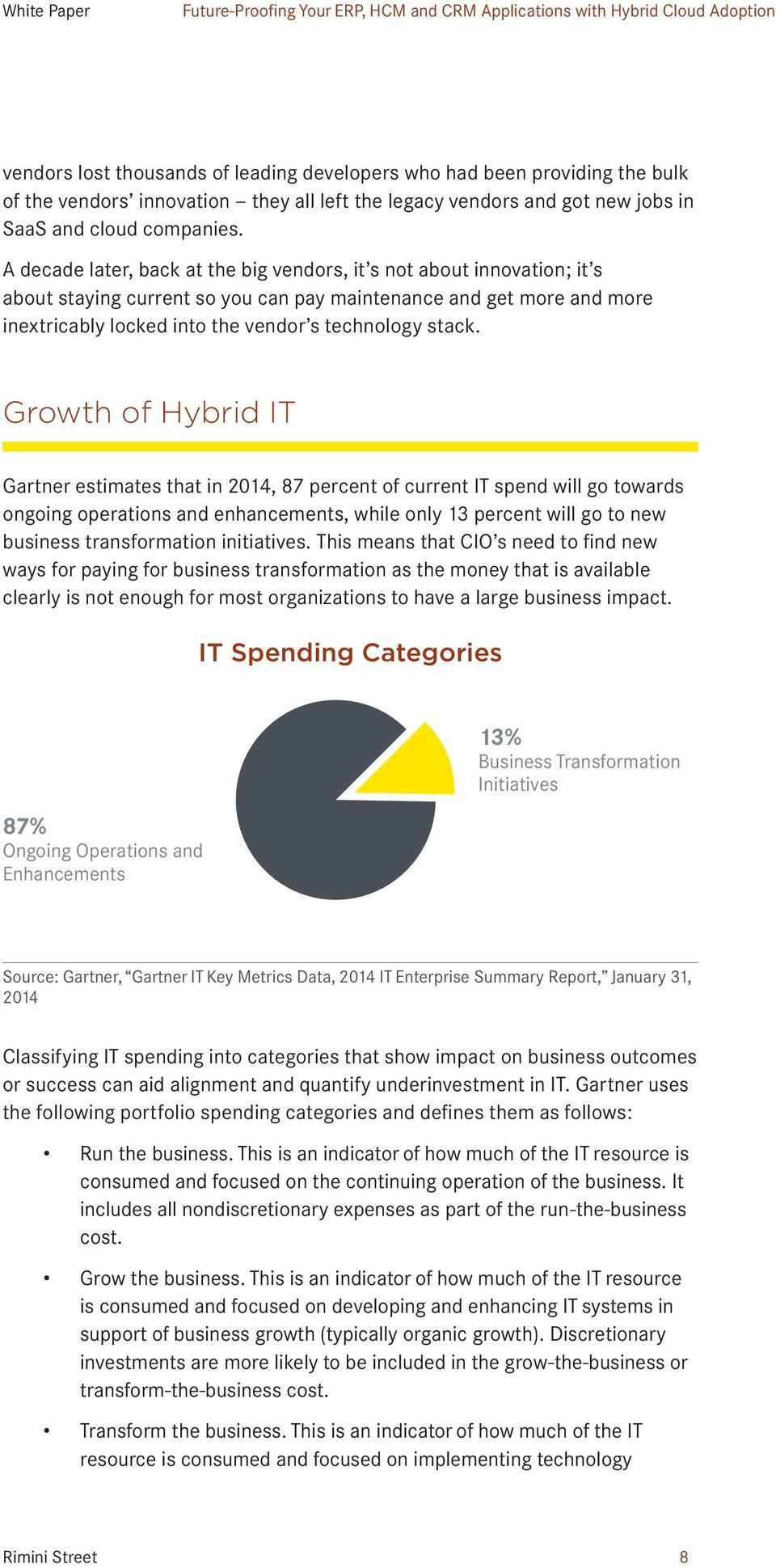 Growth of Hybrid IT Gartner estimates that in 2014, 87 percent of current IT spend will go towards ongoing operations and enhancements, while only 13 percent will go to new business transformation