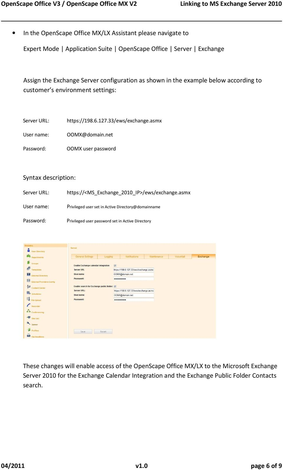 Services Provider: Service Provider Url For Outlook 2010