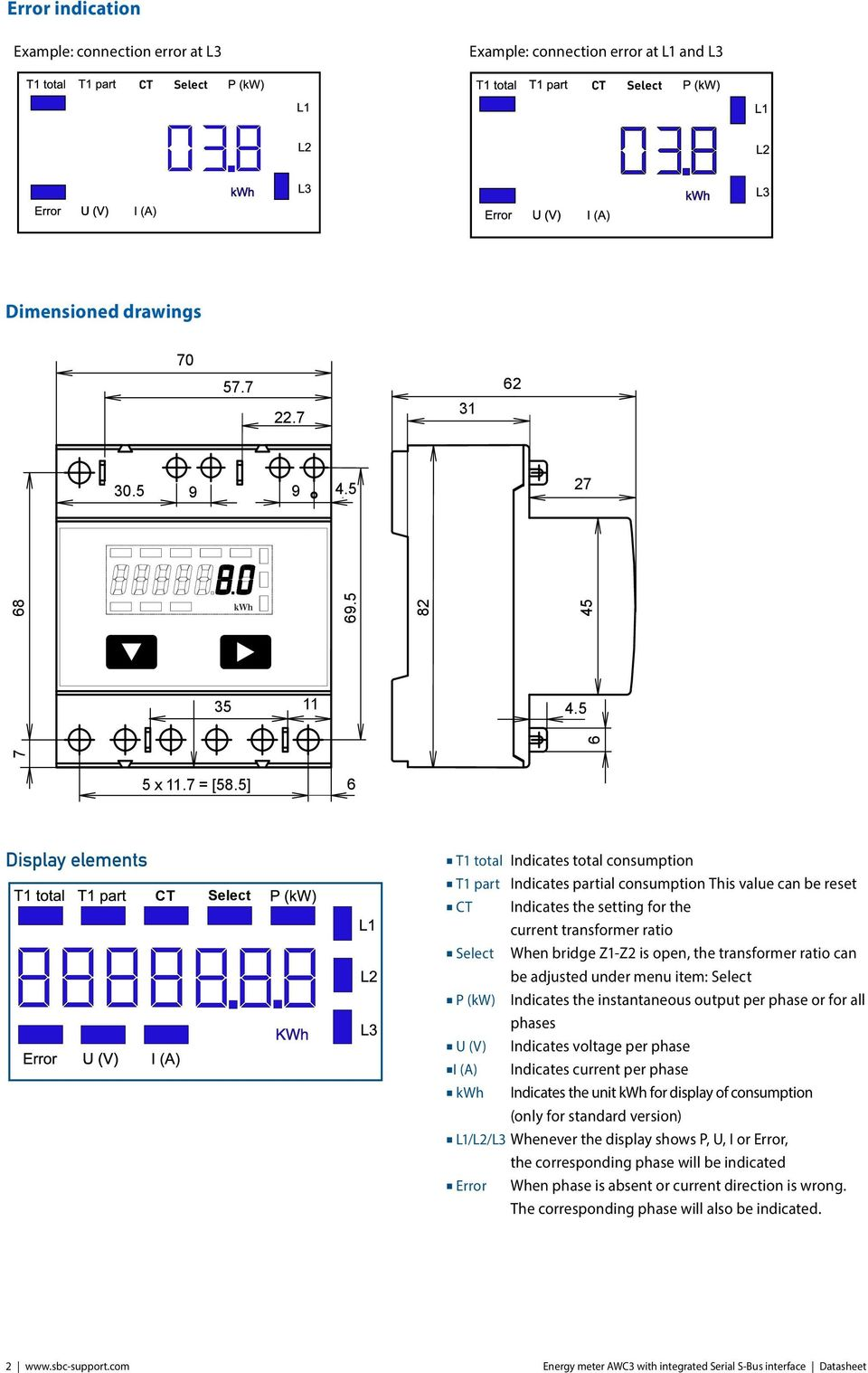 5] 6 Display elements T1 total Indicates total consumption T1 part Indicates partial consumption This value can be reset Indicates the setting for the current transformer ratio When bridge Z1-Z2 is