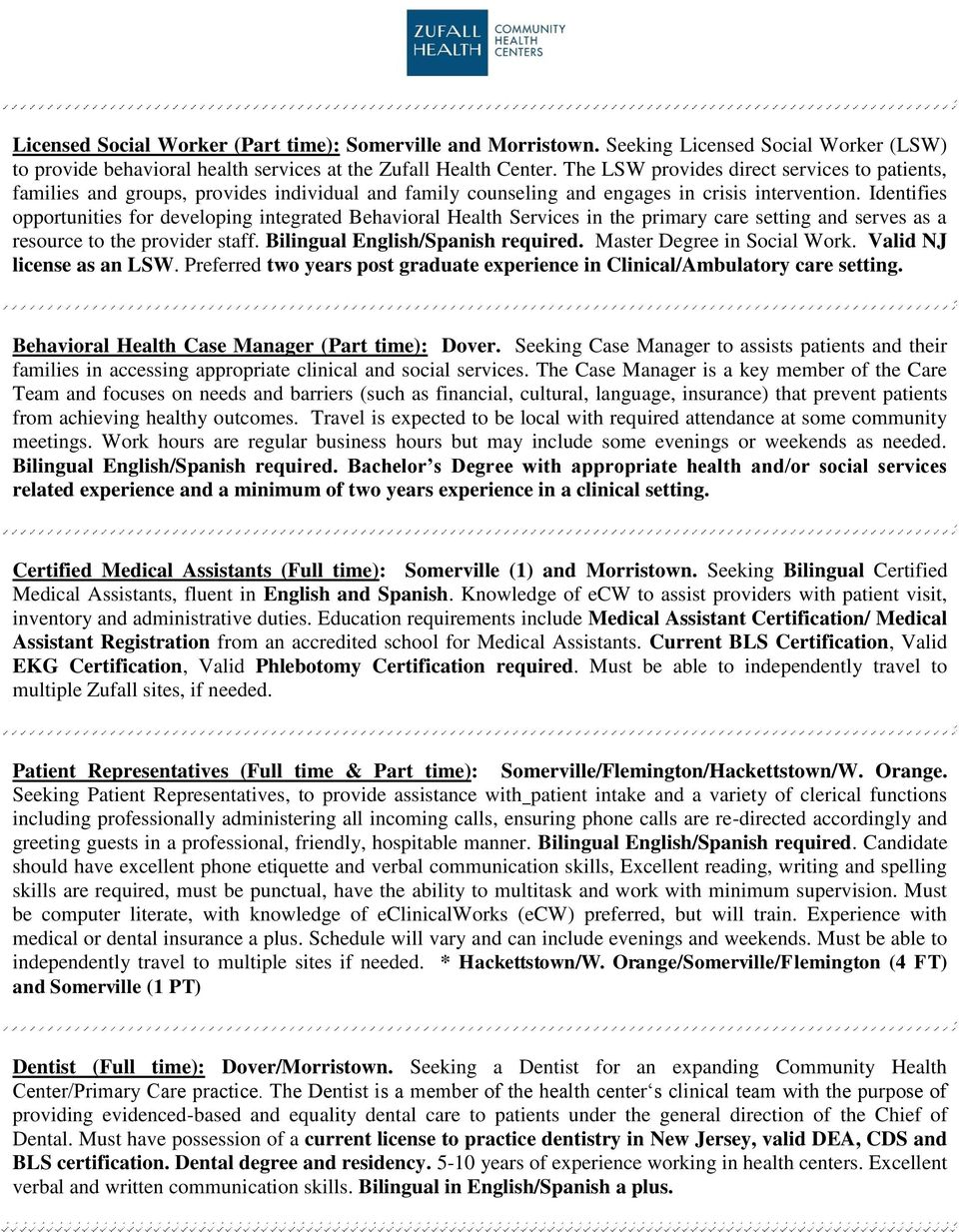 Open Positions At Zufall Health Center Pdf