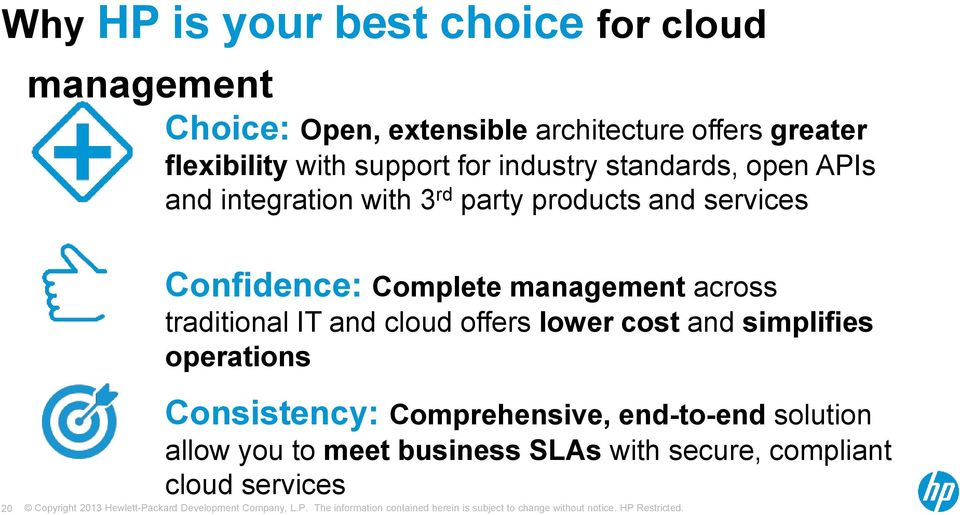 services Confidence: Complete management across traditional IT and cloud offers lower cost and simplifies