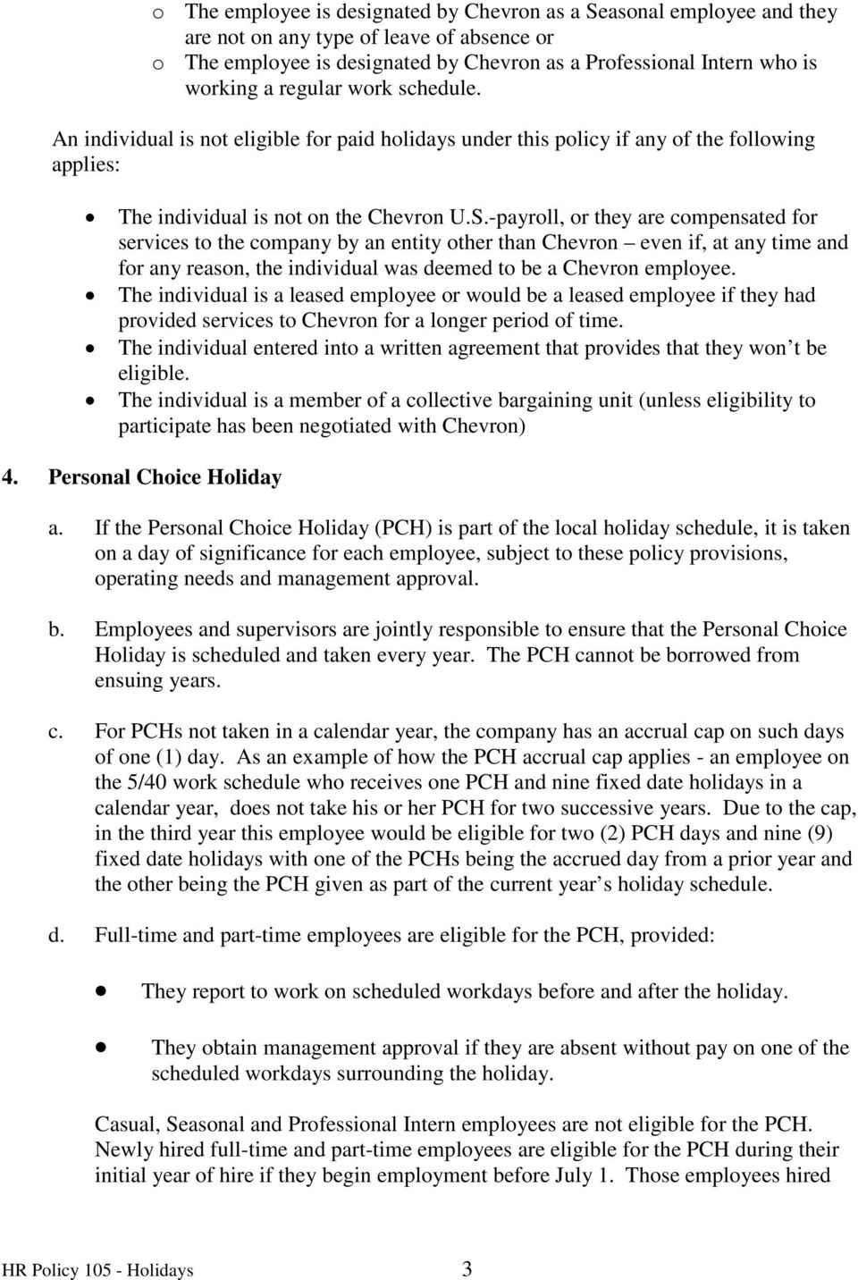 Transition to Chevron Holiday Policy Your Life  - PDF