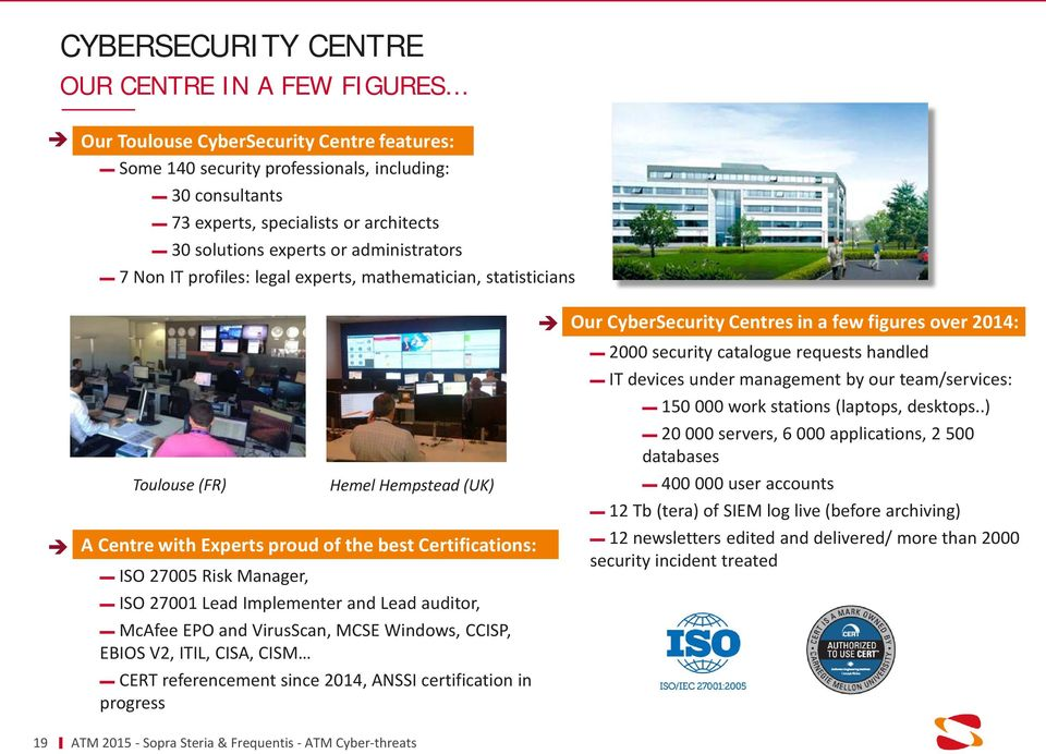 Hemel Hempstead (UK) ISO 27001 Lead Implementer and Lead auditor, McAfee EPO and VirusScan, MCSE Windows, CCISP, EBIOS V2, ITIL, CISA, CISM CERT referencement since 2014, ANSSI certification in