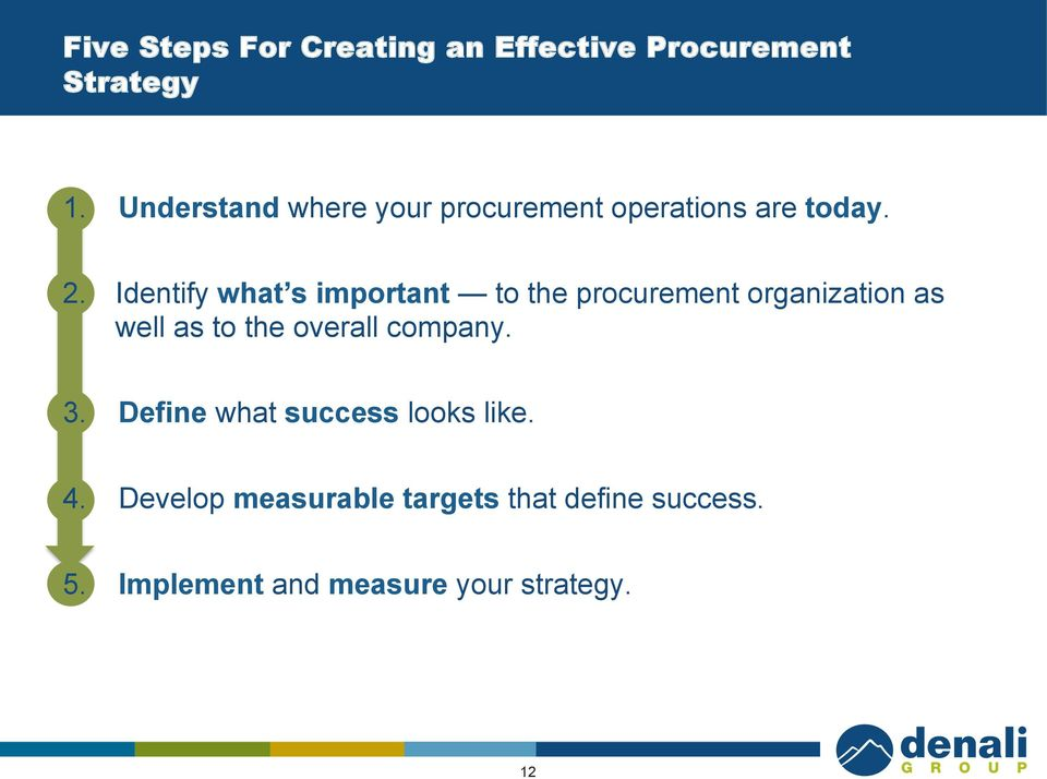 Identify what s important to the procurement organization as well as to the overall