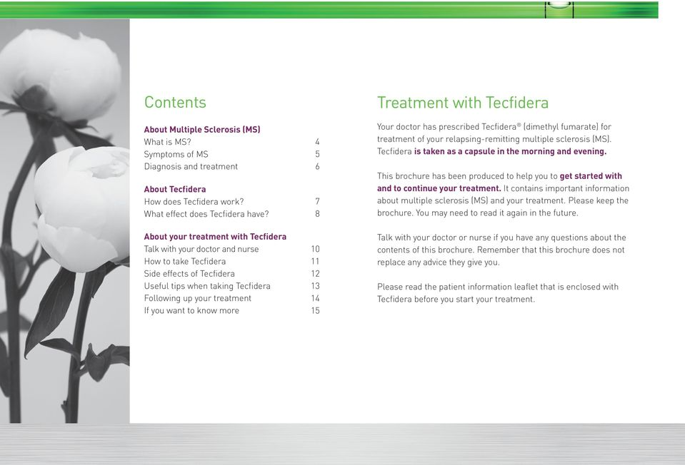 more 4 5 6 7 8 10 11 12 13 14 15 Treatment with Tecfidera Your doctor has prescribed Tecfidera (dimethyl fumarate) for treatment of your relapsing-remitting multiple sclerosis (MS).