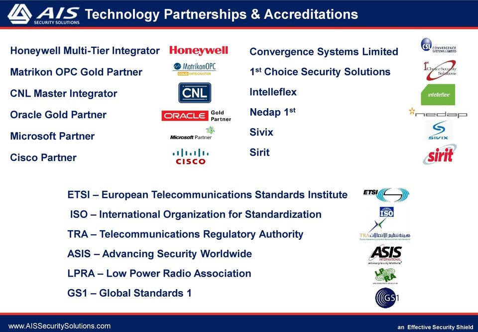 Cisco Partner Sirit ETSI European Telecommunications Standards Institute ISO International Organization for Standardization