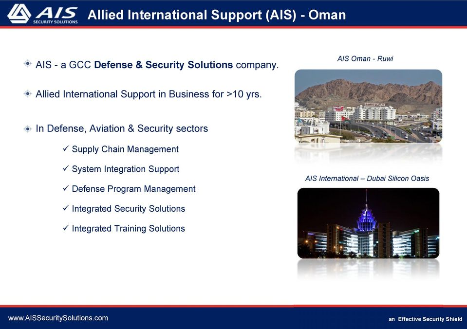 In Defense, Aviation & Security sectors Supply Chain Management System Integration Support AIS