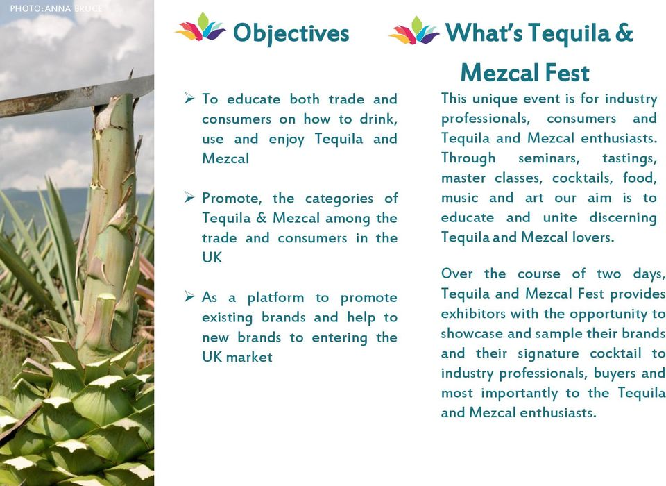 Mezcal enthusiasts. Through seminars, tastings, master classes, cocktails, food, music and art our aim is to educate and unite discerning Tequila and Mezcal lovers.