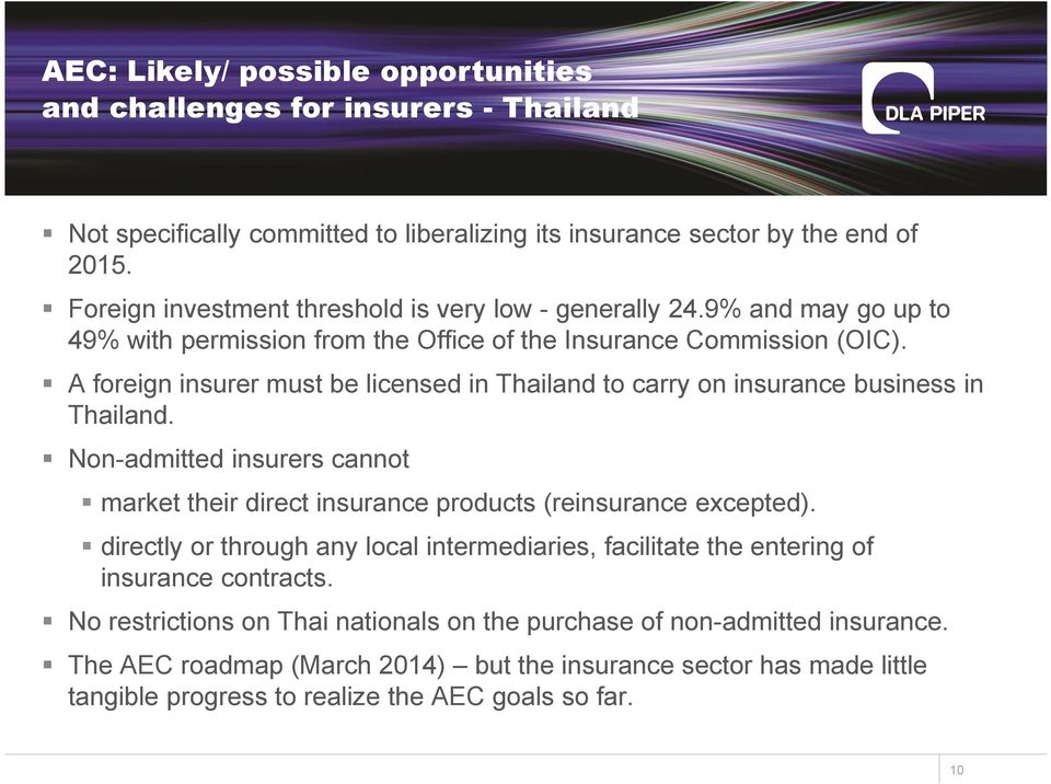 A foreign insurer must be licensed in Thailand to carry on insurance business in Thailand. Non-admitted insurers cannot market their direct insurance products (reinsurance excepted).