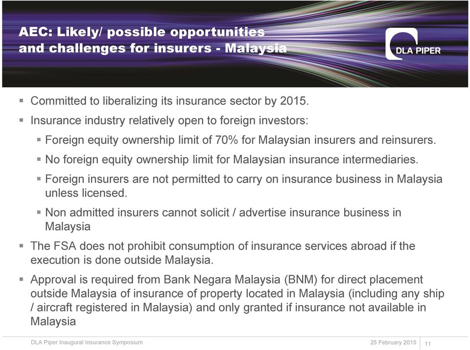 No foreign equity ownership limit for Malaysian insurance intermediaries. Foreign insurers are not permitted to carry on insurance business in Malaysia unless licensed.