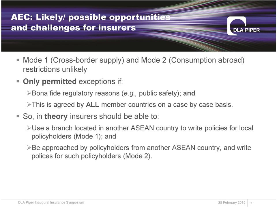 So, in theory insurers should be able to: Use a branch located in another ASEAN country to write policies for local policyholders (Mode