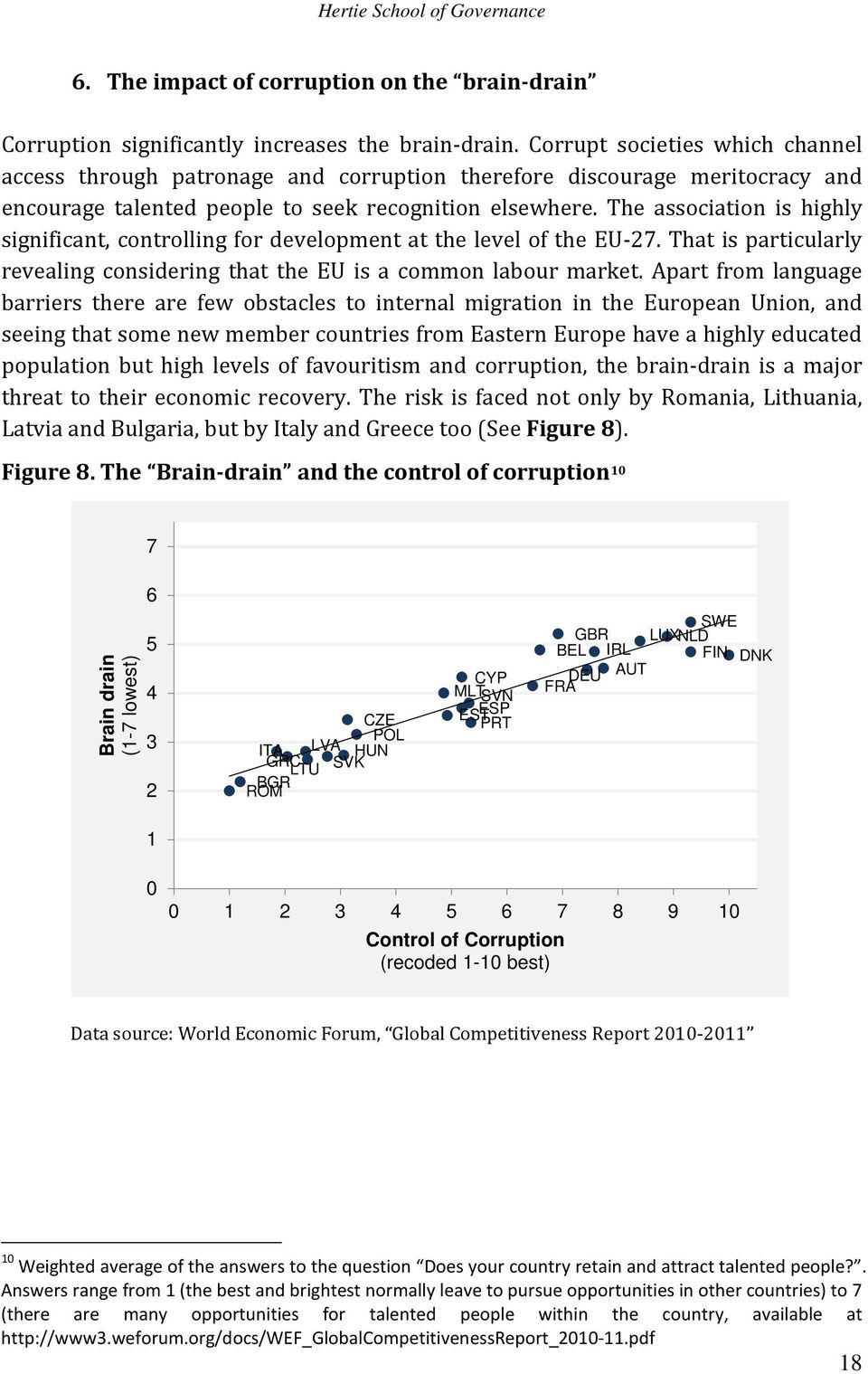 The association is highly significant, controlling for development at the level of the EU-27. That is particularly revealing considering that the EU is a common labour market.
