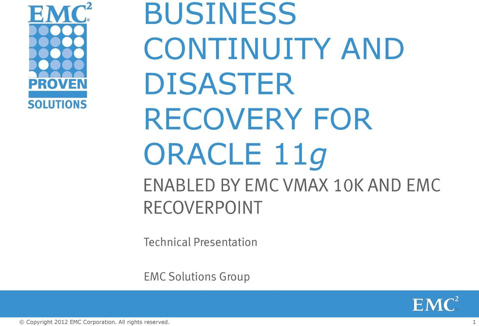 EMC VMAX 10K AND EMC RECOVERPOINT