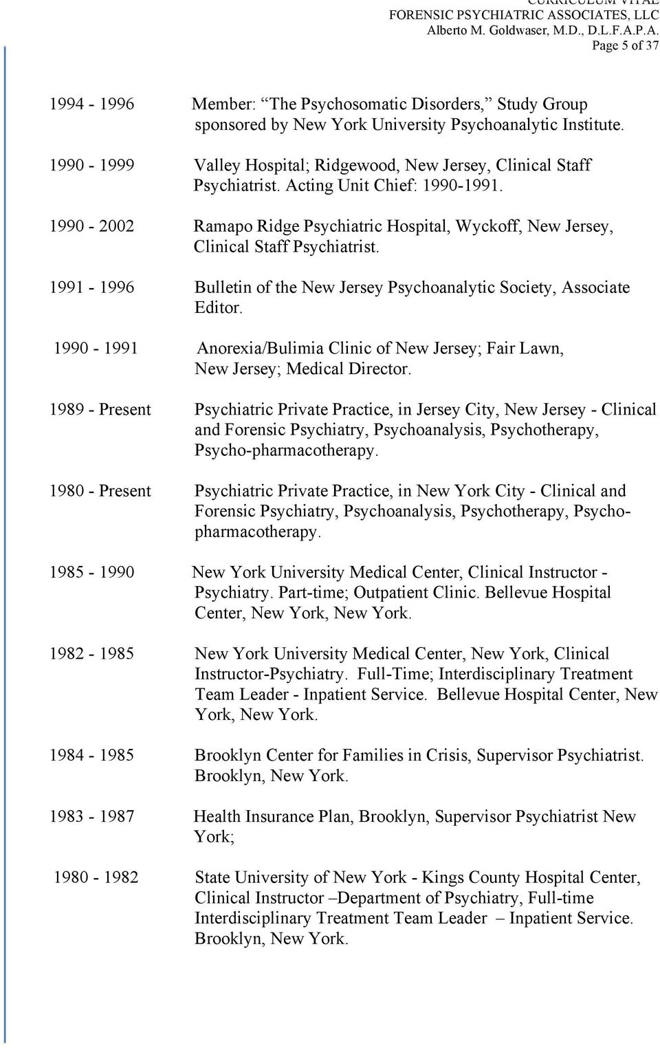1990-2002 Ramapo Ridge Psychiatric Hospital, Wyckoff, New Jersey, Clinical Staff Psychiatrist. 1991-1996 Bulletin of the New Jersey Psychoanalytic Society, Associate Editor.