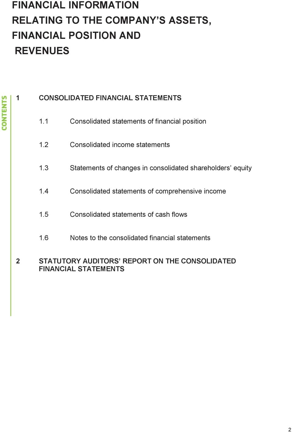 3 Statements of changes in consolidated shareholders equity 1.4 Consolidated statements of comprehensive income 1.
