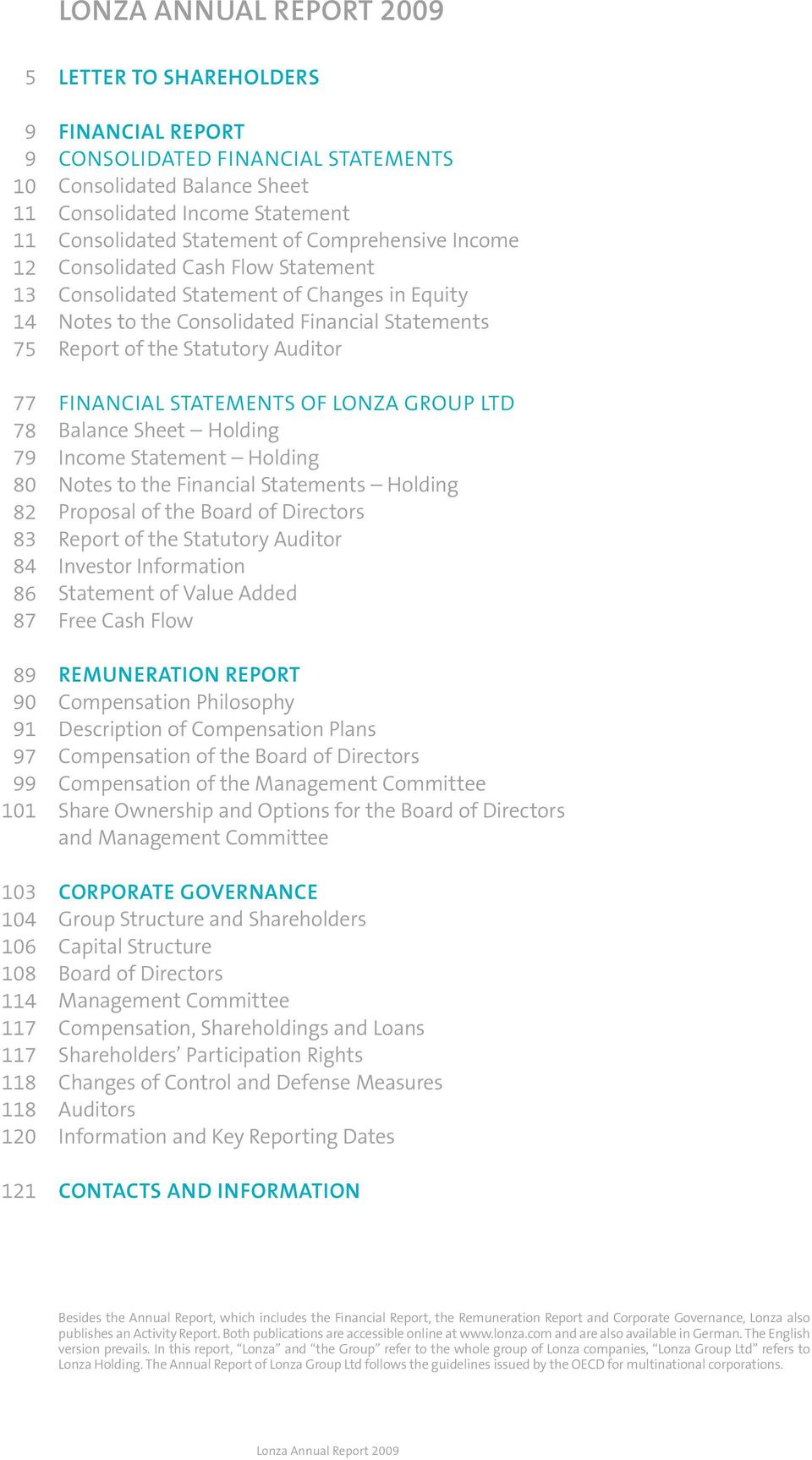 Equity Notes to the Consolidated Financial Statements Report of the Statutory Auditor Financial Statements of Lonza Group Ltd Balance Sheet Holding Income Statement Holding Notes to the Financial