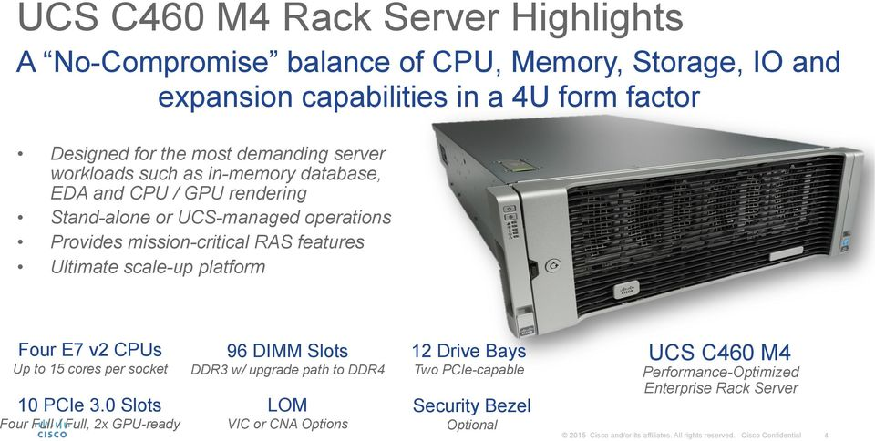RAS features Ultimate scale-up platform Four E7 v2 CPUs Up to 15 cores per socket 10 PCIe 3.